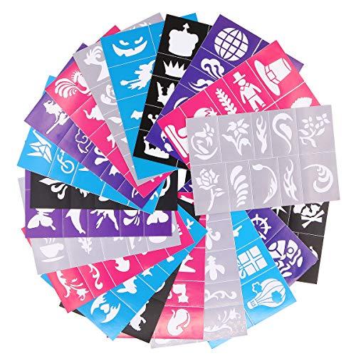 Kit di stencil riutilizzabili per viso e corpo, stencil per tatuaggi, tatuaggi temporanei glitterati per bambini, scuola, compleanni, Halloween e feste di Natale