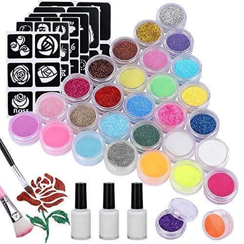 Natale Emooqi Kit Tattoo Temporanei,24 Colori Glitter Tattoo per il Corpo - 24 Colori Diversi Glitter,143 Fogli Unici Themed Tattoo Stencil, 3 Colla e 5 Spazzole,62 Strass,per bambini, adulti