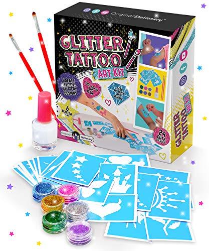 Original Stationery Glitter Tattoo Studio for Girls - Tatuaggi temporanei Scintillanti e Colorati per Bambini - Kit Tatuaggio Finto Magico Arti e Mestieri per Ragazze
