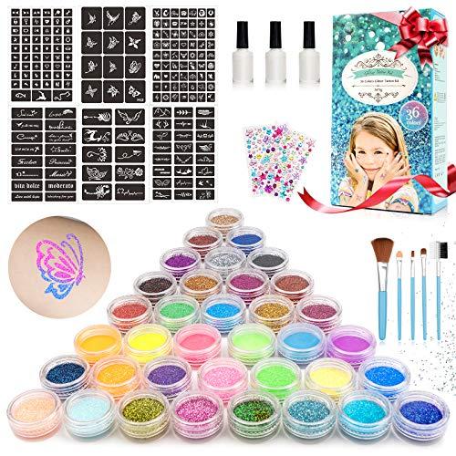 OUKZON Kit Tatuaggi Glitterati Per Bambini, 36 Colori Glitter Tatuaggi Temporanei con 182 Stencil, Non Tossici Tattoo per Bambini Adulti Trucco Corpo, Cosmetici Party, DIY