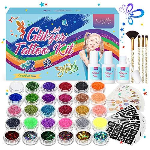 Set Tatuaggi Glitter 30 Colori, Kit Tatuaggi Temporanei, Accessori Abbondanti, Crea Glitter Art nel Modo Più Semplice! Pacchetto: Polvere Glitterata * 30, Stampini, Colla Glitterata * 3, Pennelli * 4
